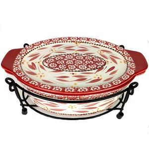 Temp-tations Oval Covered Casserole Dish w Stand
